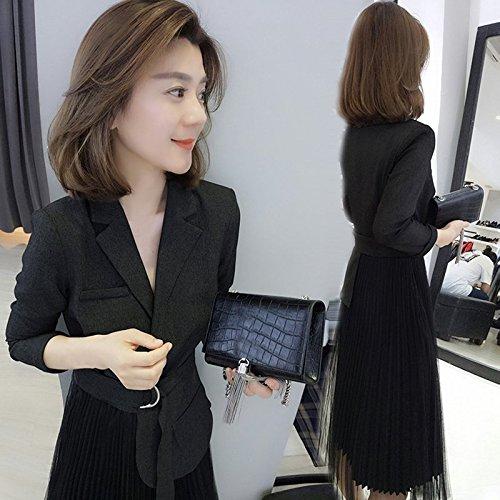 MiGMV?Robes Une Robe de Printemps et d't et Une Robe pour Une Taille et Une Longue Jupe,L,Une Robe Noire