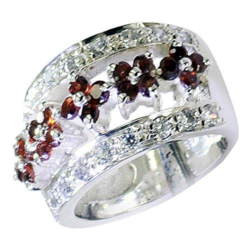 - Genuine Garnet Silver Ring For Birthday Cluster Setting Round Gemstone Jewelry In Size 5,6,7,8,9,10,11,12