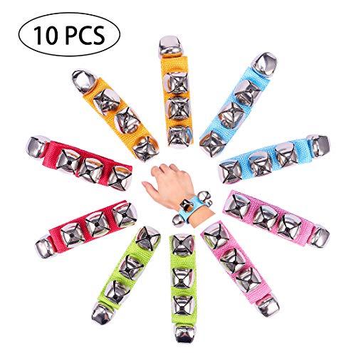 (UMLIFE Band Wrist Bell 10 PCS Jingle Bells Musical Rhythm Toys Rattles Ring Bracelet for School Party)
