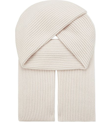 Graham Cashmere Unisex Pure Scottish Cashmere Chunky Ribbed Knit Scarf White by Graham Cashmere