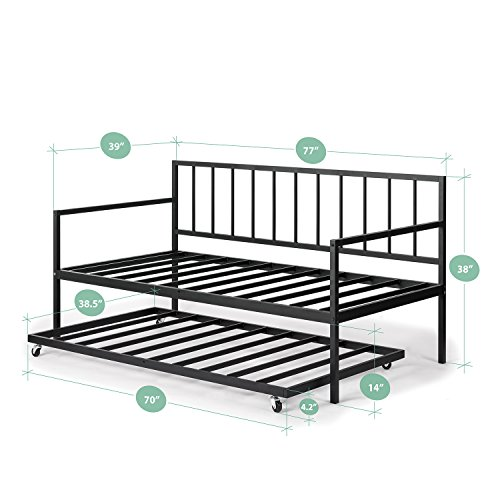 Zinus Eden Twin Daybed and Trundle Set / Premium Steel Slat Support...