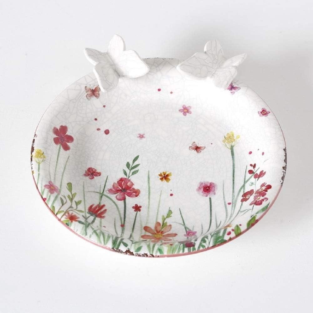 Home Collection Muebles Decoración Jardín Terraza Fuente Pájaro Bebedero Motivo Flores Mariposas
