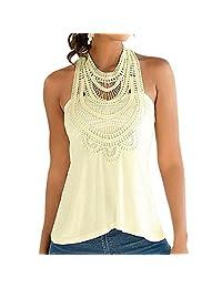 Women Lace Floral Crochet Sleeveless Halter Backless Blouse Vest Shirt Tank Top