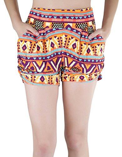 ToBeInStyle Women's Print Harem Shorts - OrangeMagenta - S/M