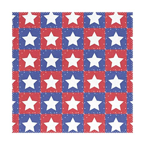 Placemats Red Blue White Stars Plaid Square Place Mats for Dining Table Set Heat Resistant Washable Polyester Kitchen Table Mats 1 piece (Maxx Placemats Tj)