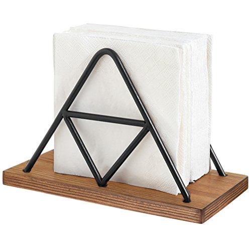 MyGift Modern Triangle Wire & Wood Napkin