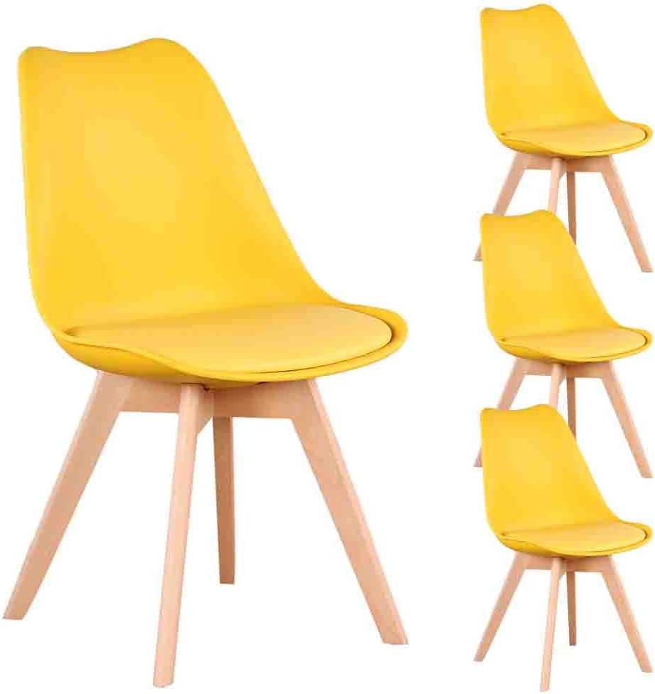 chambre /à coucher salon N A to MUEBLES Home Lot de 4 chaises de salle /à manger modernes avec pieds en bois et dossier doux pour salle /à manger