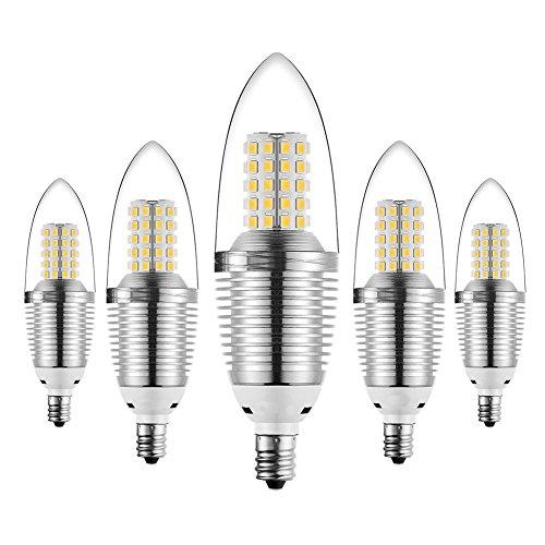 SODIAL(R) 5pcs LED Candelabra Bulb,12W 3000K LED Candle Bulbs, 85-100 Watt Light Bulbs Equivalent, E12 Candelabra Base,1200 Lumens LED Lights,Torpedo Shape Warm White