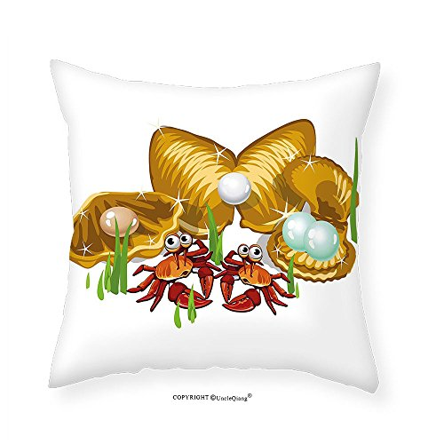VROSELV Custom Cotton Linen Pillowcase Crabs Decor Sea Life Theme Cartoon Style Three Gold Shells with Pearls and Crabs Print for Bedroom Living Room Dorm Ginger Mustard (Gold Diamond Crab)