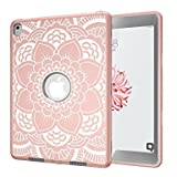 Silicone Case for iPad Pro 9.7 Inch , 3 in 1 ShockProof Heavy Duty Prevent Fall Off Tablet Protect Cover for Apple iPad Pro 9.7 Inch Retina Protector Case(Rose Golden/Grey)