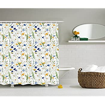 Ambesonne Floral Shower Curtain Roses Decor By, Poppies And Daisies Floral  Printing Wild Flowers Watercolor