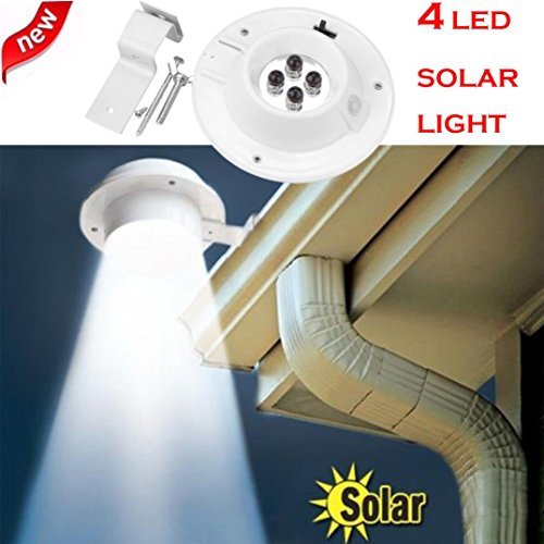 SHJNHAN New 4 LED Solar, Powered Gutter Light Outdoor Garden Yard Wall Fence Pathway Lamp
