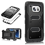 MoMoCity Sumsang Galaxy S7 Edge Case, 3 in 1 Design Heavy Duty Rugged Holster Belt Full-Protect Swivel Kickstand Clip Case for Samsung Galaxy S7 Edge