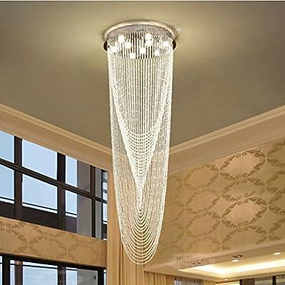 Araña Z iluminación Lámparas de Cristal, Villa Duplex Escalera Moderna Big Long Chandelier Fashion (Size : 9 lights/60 * 180cm): Amazon.es: Hogar
