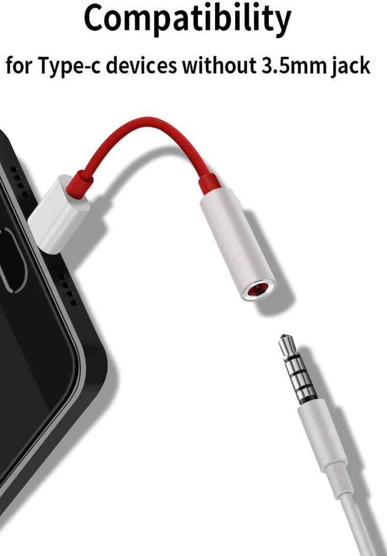 USB C to 3.5mm Aux Cable USB C to 3.5mm Female Adapter Type C to 3.5mm Audio Adapter for OnePlus 6T Auxiliary Adapter Noise Cancelling Headphones Jack Converter Adapter for OnePlus 7pro
