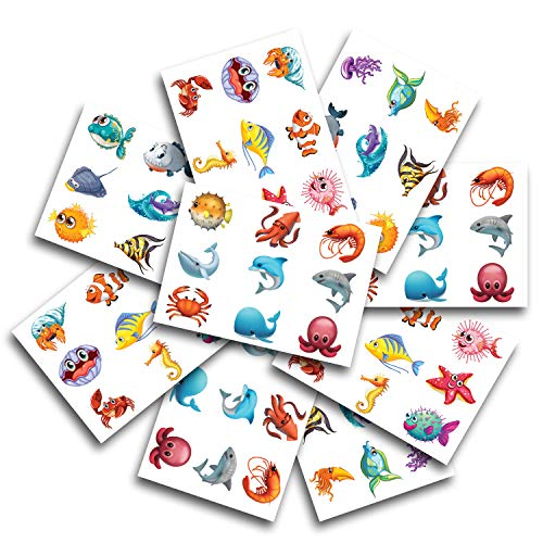 Shark Temporary Tattoos - 81-Piece Sea Creatures Fake Tattoos for Kids and Adults - Child Safe Tested and Non-Toxic - Resolution - Ideal for Party, Pool, Vacations, Goodie Bags, Favors -