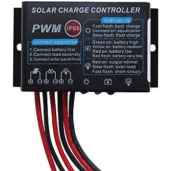 Amazon.com: Controlador de carga solar resistente al agua, Y ...