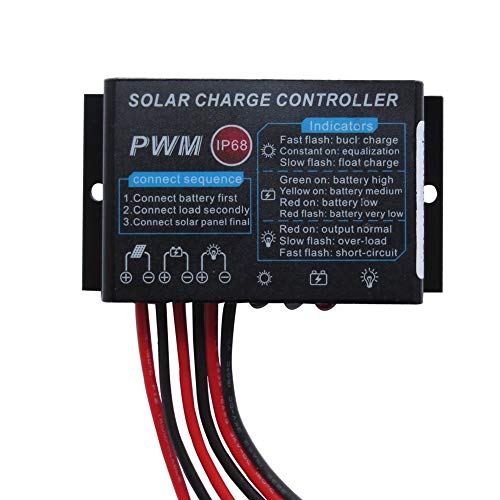 HUINE 12V 24V Auto10A IP68 Waterproof PWM Solar Charge Controller Solar Panel Battery Intelligent Regulator for RV Caravan Boat Off Grid Solar System (24 Hours Working Mode)