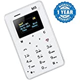 Captcha M5 Mini Card Cell Phones Ultra Thin Lightest, Lowest Radiation Slim Credit Card Size GSM Mobile Phone (1 Year Warranty) - Color May Vary