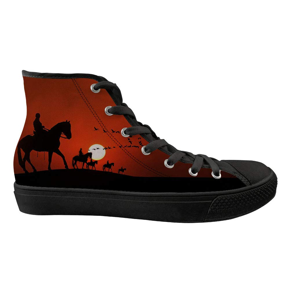 Sneaker Horse Printed Non-Slip High Top Lightweight Canvas Walking Shoes Lace Up Flat
