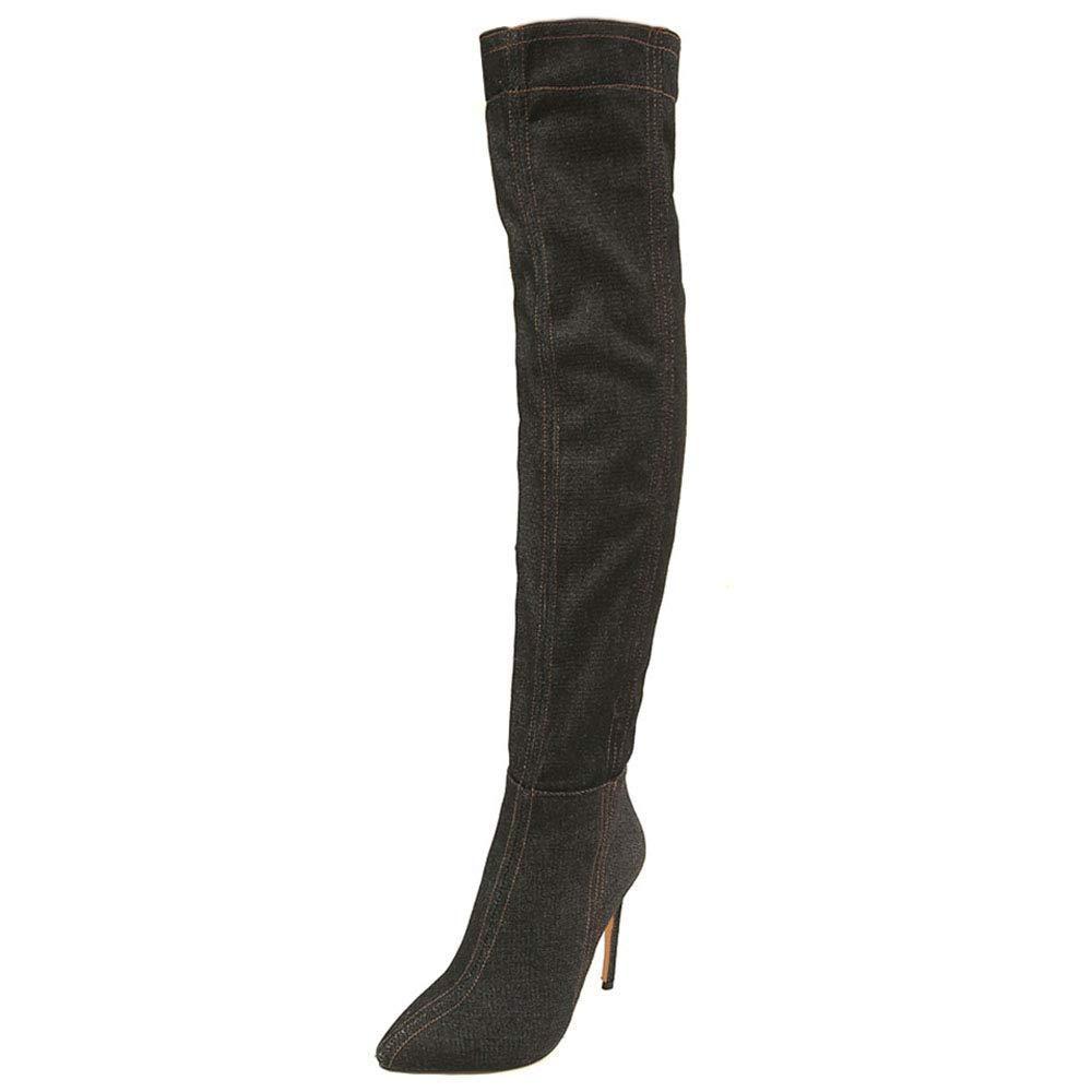 Qiusa Frauen halber Reißverschluss über dem Knie Stiefel Stiletto Stiletto Stiletto 0e44d4