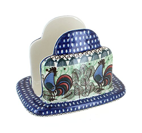 Blue Rose Polish Pottery Rooster Row Napkin Holder