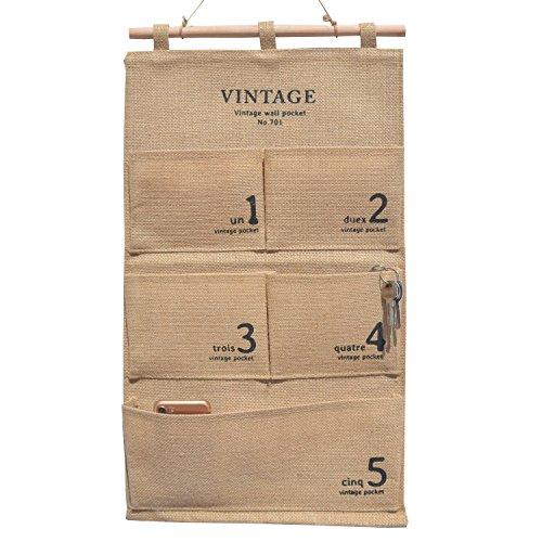 Jute Fabric Rectangle Wall Door Closet Hanging Storage Bag Case 5 Medium Pockets, Home Organizer to School Office Bedroom Kitchen for Clutch Purses, Handbags, Scarves, Sunglasses (Yellow-5 - School Sunglasses To