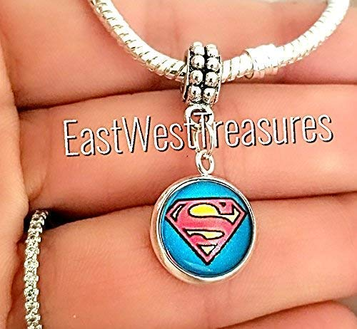 (EWT Superman Superhero Charm pendant - For bracelet or necklace)
