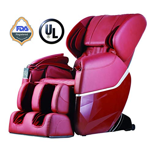 Zero Gravity Full Body Electric Shiatsu FDA Approved Massage Chair Recliner with Built-in Heat Therapy and Foot Roller Air Massage System Stretch Vibrating for Home Office,Burgundy (Renewed)
