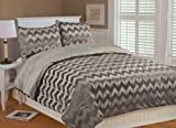 Thro by Marlo Lorenz 5602 Chevron Brushed 86 by 86-Inch Microplush Bedding Set, Full/Queen, Fungi
