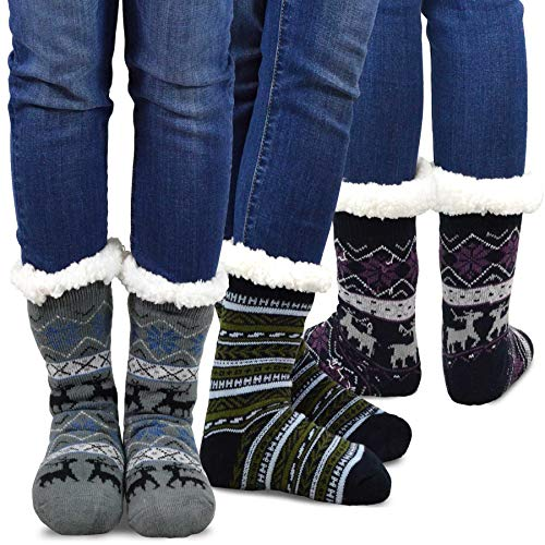 (Teehee Womens Soft Premium Thermal Double Layer Crew Socks 3-Pack (9-11, Deer))