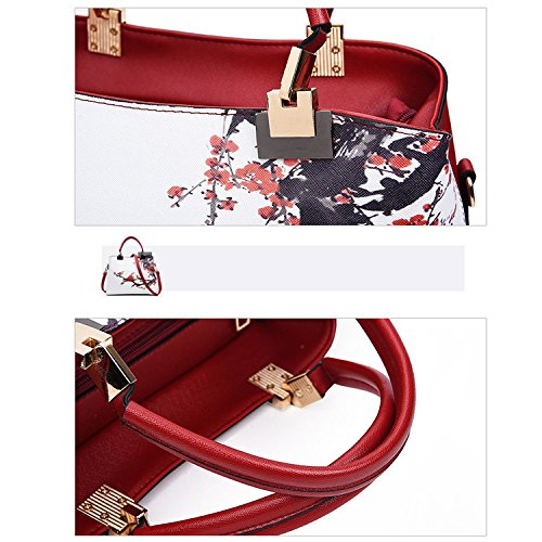 Floral Girls Bag Shoulder for Bag PU Style Pattern Howoo Messenger Black Women Handbag Chinese Crossbody qnRHWna