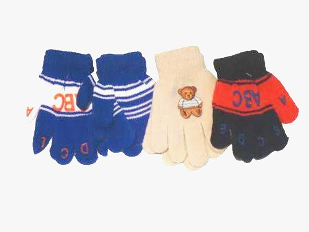 Set of Four Pairs of One Size Magic Gloves for Toddlers for Ages 1-3 Years