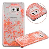 Galaxy S6 Edge Plus Case, TIPFLY Flowing Liquid Floating Luxury Bling Glitter Sparkle Cover with Love Heart Powder, Clear Dual Layer Hard Plastic Case for Samsung Galaxy S6 Edge Plus - Watermelon Red