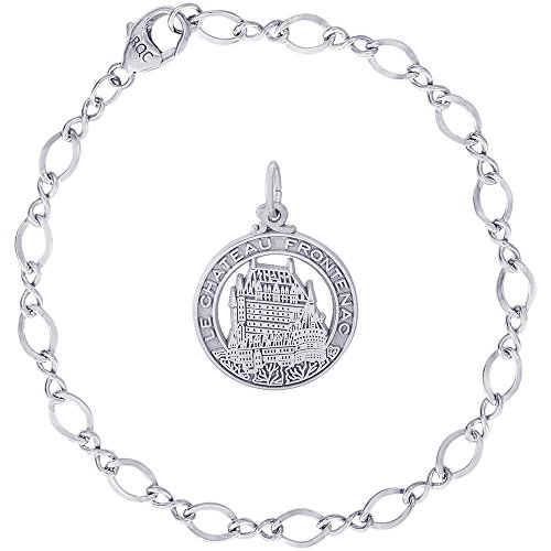 Rembrandt Charms Sterling Silver Chateau Frontenac Charm on a Figure Eight Link Bracelet, 7