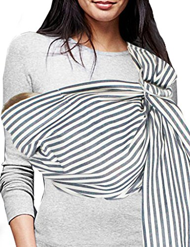 (Vlokup Baby Sling Ring Sling Carrier Wrap | Extra Soft Lightweight Cotton Baby Slings for Infant, Toddler, Newborn and Kids | Great Gift, Lightly Padded Adjustable Nursing Cover Black Stripe)