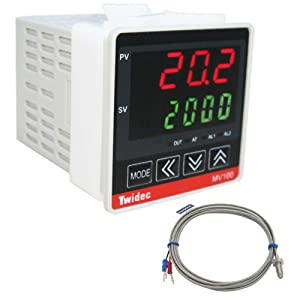 Twidec / Mv100-B10 Digital Display PID Temperature Controller Thermostat Regulator AC 85V - 265V Output SSR Solid State Relay + Thermocouple K Sensor Probe