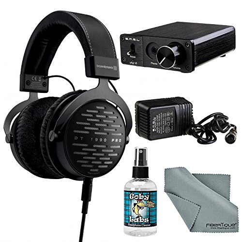 Beyerdynamic DT 1990 PRO 250 Ohm Headphones with Amplifier + Cleaner + Fibertique Cloth Bundle by Photo Savings