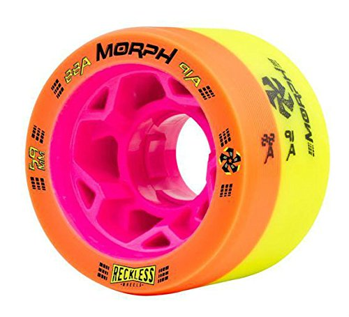 Reckless MORPH Quad Indoor Roller Derby Speed Skate Dual Durometer Wheels 8 Pk. (Orange/Yellow - Pink Hub (88A/91A))