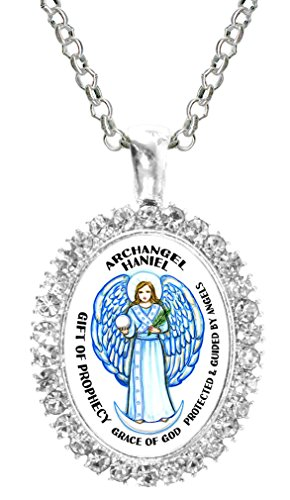 (Archangel Haniel Gift of Prophecy Grace of God Cz Crystal Silver Necklace Pendant)
