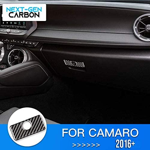 Next-Gen Speed Real Carbon Fiber Glove Box Console Handle Cover for Camaro 2016 2017 2018 2019 2020 Authentic Interior Trim Piece Cover Real Carbon Fiber Next-Gen Carbon