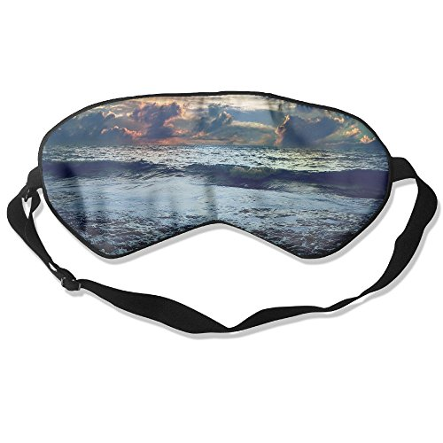 100% Silk Sleep Mask Eye Mask Weather Storm Painting Soft Eyeshade Blindfold with Adjustable Strap for Sleeping Travel Work Naps Blocks Light
