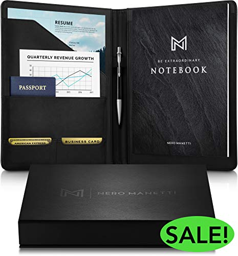 NERO MANETTI- Leather Portfolio Folder - Business PU Leather Portfolio Notepad Holder for Resumes, Legal Pad Portfolio Executive Binder, Professional Padfolio Notebook for Women/Men