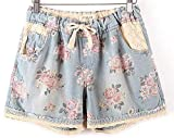 Women Casual Denim Shorts with Elastic High Waist Floral Star Printed for Crop Top,Large,Style1