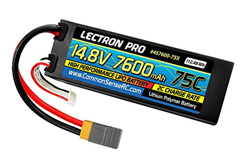 (Lectron Pro 14.8V 7600mAh 75C Hard Case Lipo Battery with XT60 Connector + CSRC Adapter for XT60 Batteries to Popular RC Vehicles for 1/10 Scale Cars, Trucks, and Buggies)