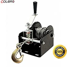 COLIBROX--2000 lb Capacity Worm Gear Portable or Mountable Hand Winch Trucks Trailers 1ton Capacity Worm Gear Hand Winch Rison Lb 1 ton Capacity Worm Gear Hand Winch 40:1 Ratio Boats Trailers Pich up