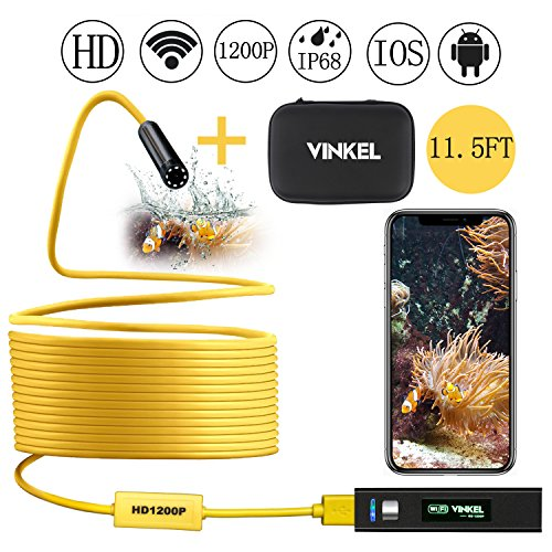 Wireless Endoscope, Snake Camera Inspection Camera Kit 1200P HD IP68 Waterproof in Semi-Rigid Cable for Android...