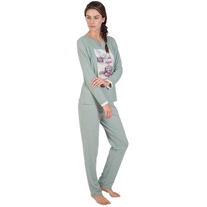 MASSANA Pijama de Mujer Largo Estampado P181252 - Caqui, XXL