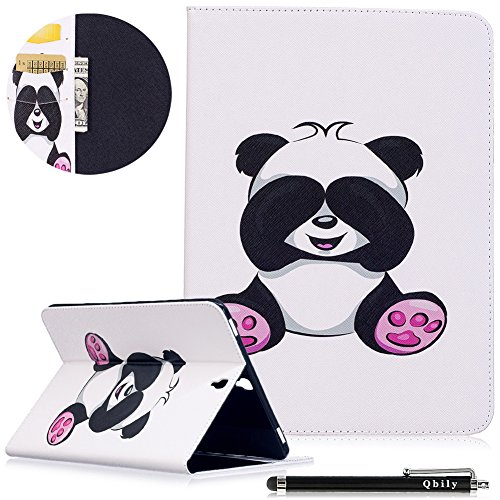 Qbily Samsung Galaxy Tab S3 9.7 Case Lovely Panda Lightweight Flip Leather Protective Case Teen Girls Kids Folio Stand Cover for Samsung Galaxy Tab S3 9.7 Inch (SM-T820/T825/T827) - White (Galaxy Panda Phone S3 Case For)