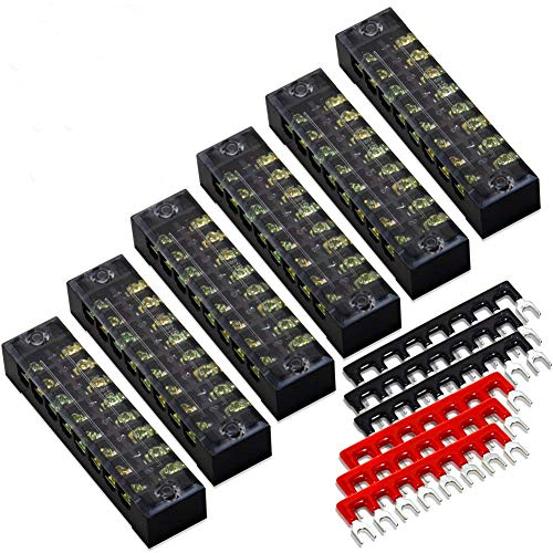 12pcs (6 Sets) 8 Positions Dual Row 600V 15A Screw Terminal Strip Blocks with Cover + 400V 15A 8 Positions Pre-Insulated Terminals Barrier Strip (Black & Red) by MILAPEAK